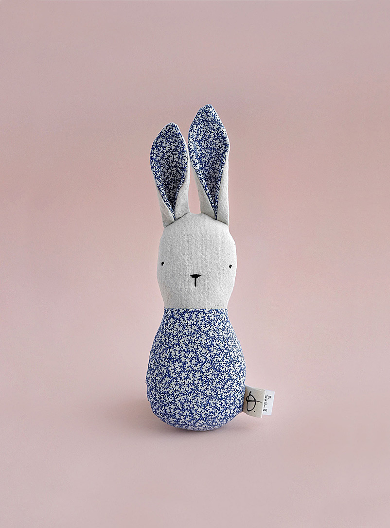 Ouistitine Blue Small flower bunny rattle
