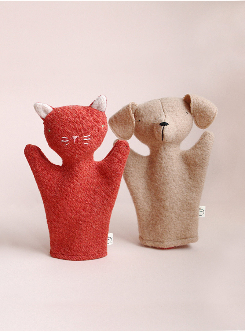 Ouistitine Assorted Cat and dog puppet duo