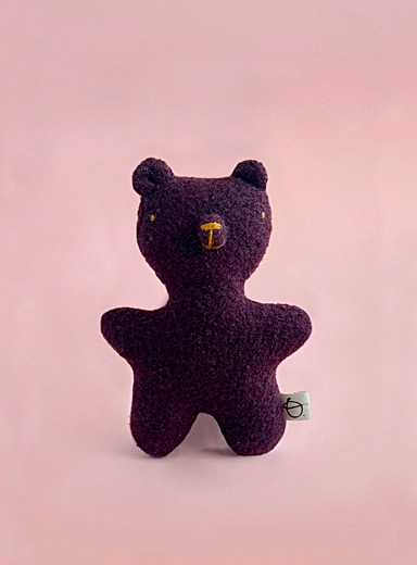 Plum wool stuffed bear