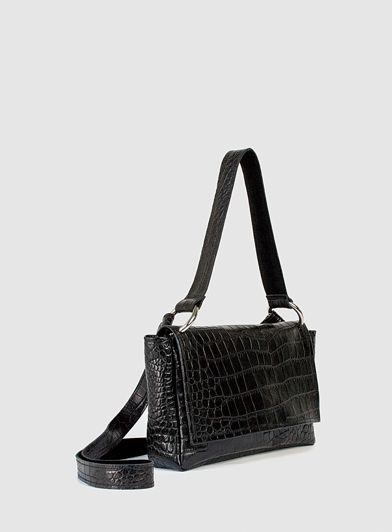 Sonya Lee Black Nico faux-croc handbag