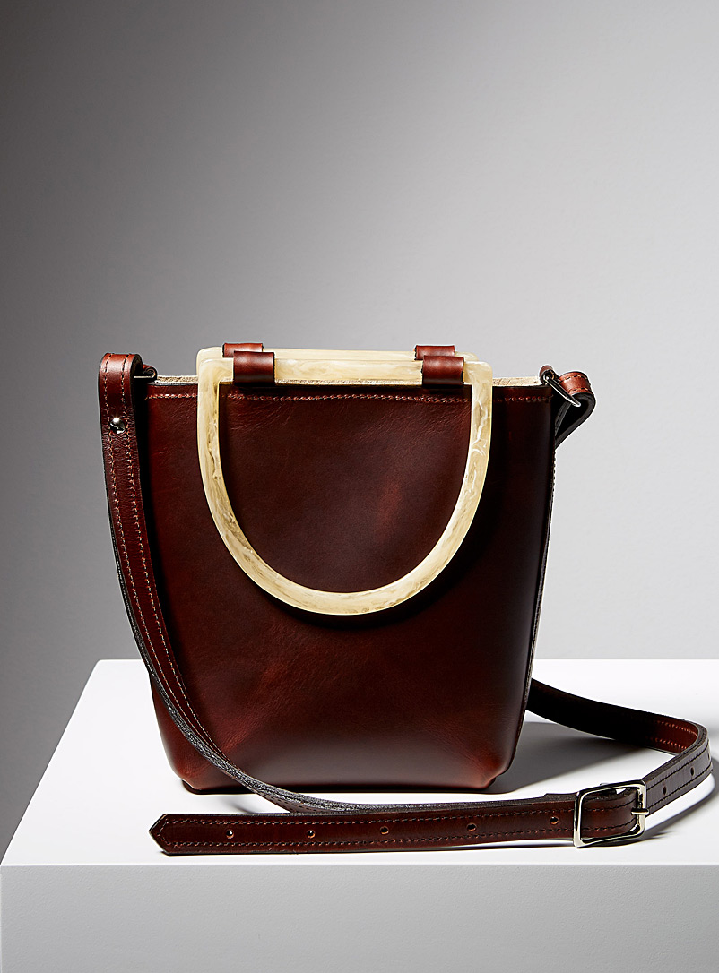 Sonya Lee Dark Crimson Faux horn Quarter Yuliana bag