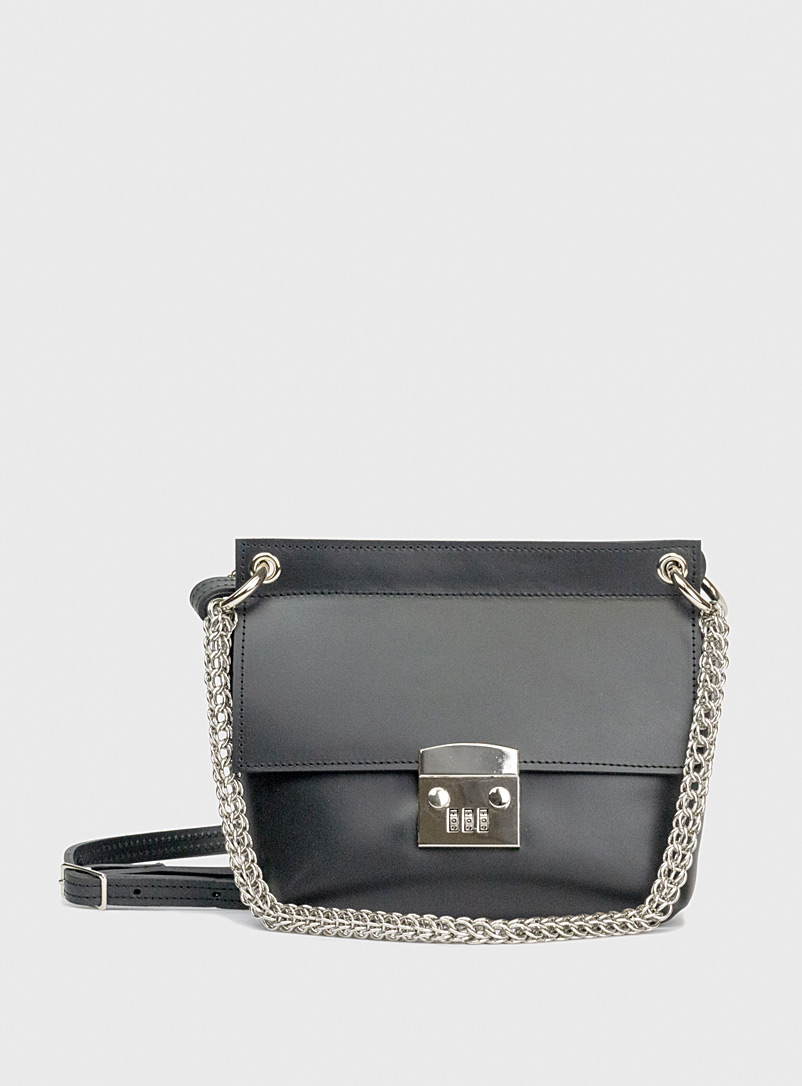 Sonya Lee Black Victoria horn-like chain bag