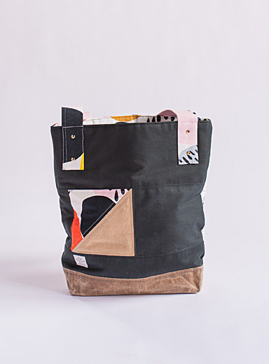 Rox Textile Art Black Hidden face tote bag