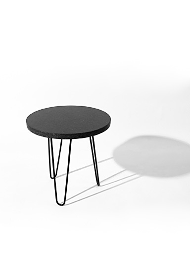 Black Quebec granite side table
