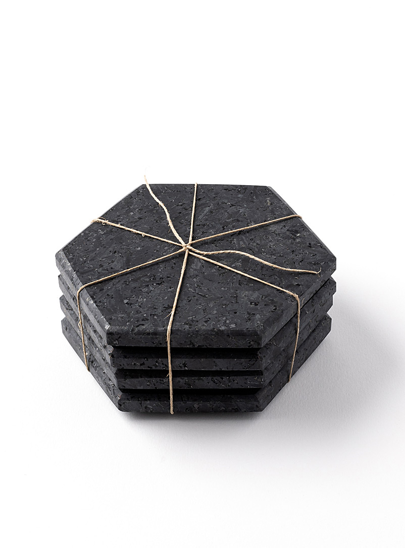 Atelier Bussière Pink Hexagon stone coasters  Set of 4