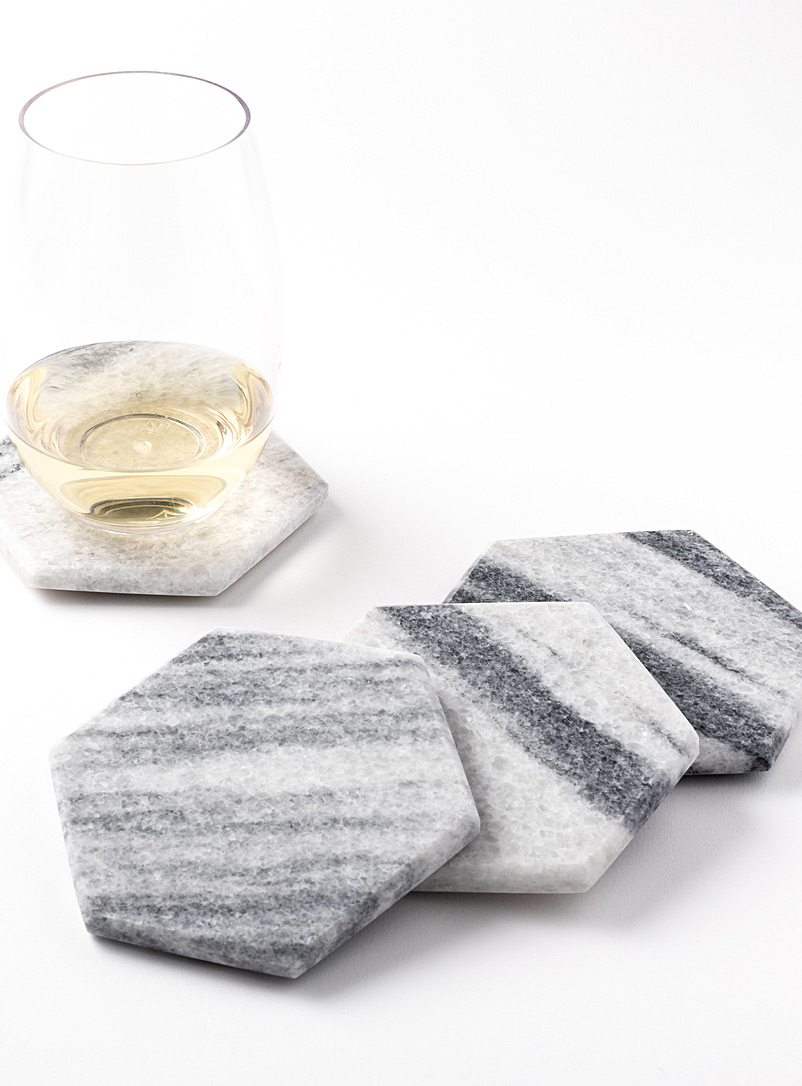 Atelier Bussière White Hexagon stone coasters  Set of 4