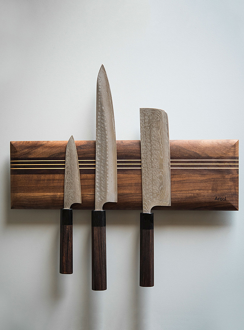 Arbol Black Walnut Ergo wall-mounted knife holder