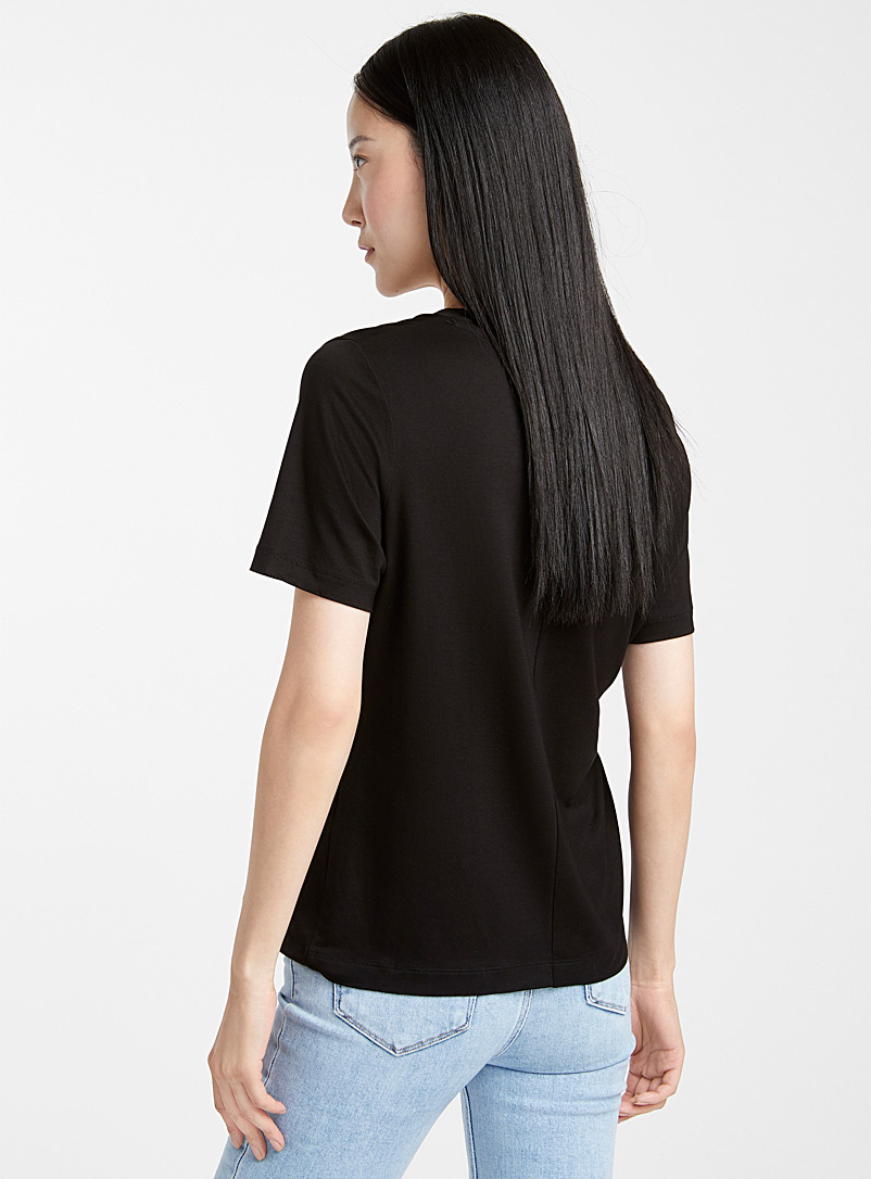 Contemporaine Black Eco-friendly lyocell loose V-neck tee for women