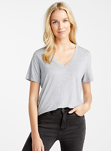 TENCEL lyocell loose V-neck tee