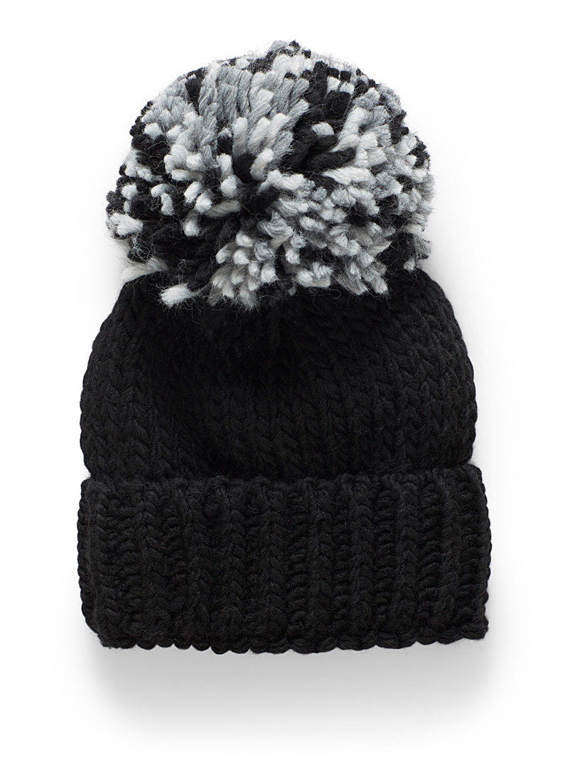 Touch of wool pompom maxi tuque