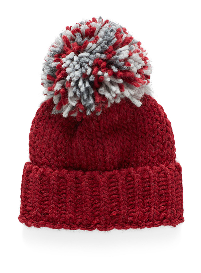 Simons Red Touch of wool pompom maxi tuque for women