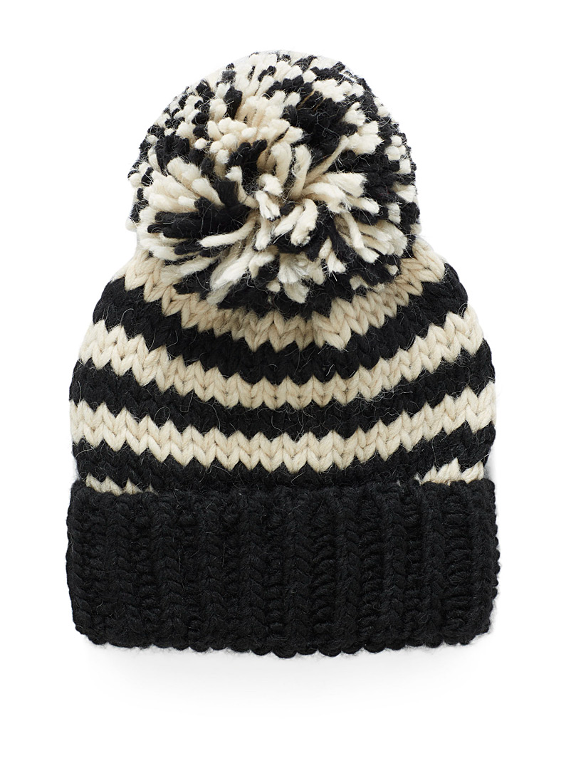 Simons Assorted black  Touch of wool pompom striped maxi tuque for women