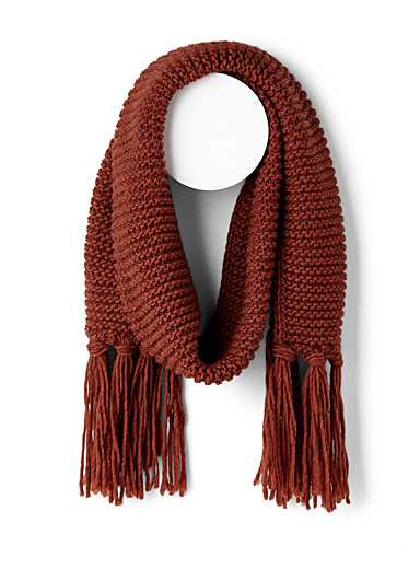 Knotted fringe scarf