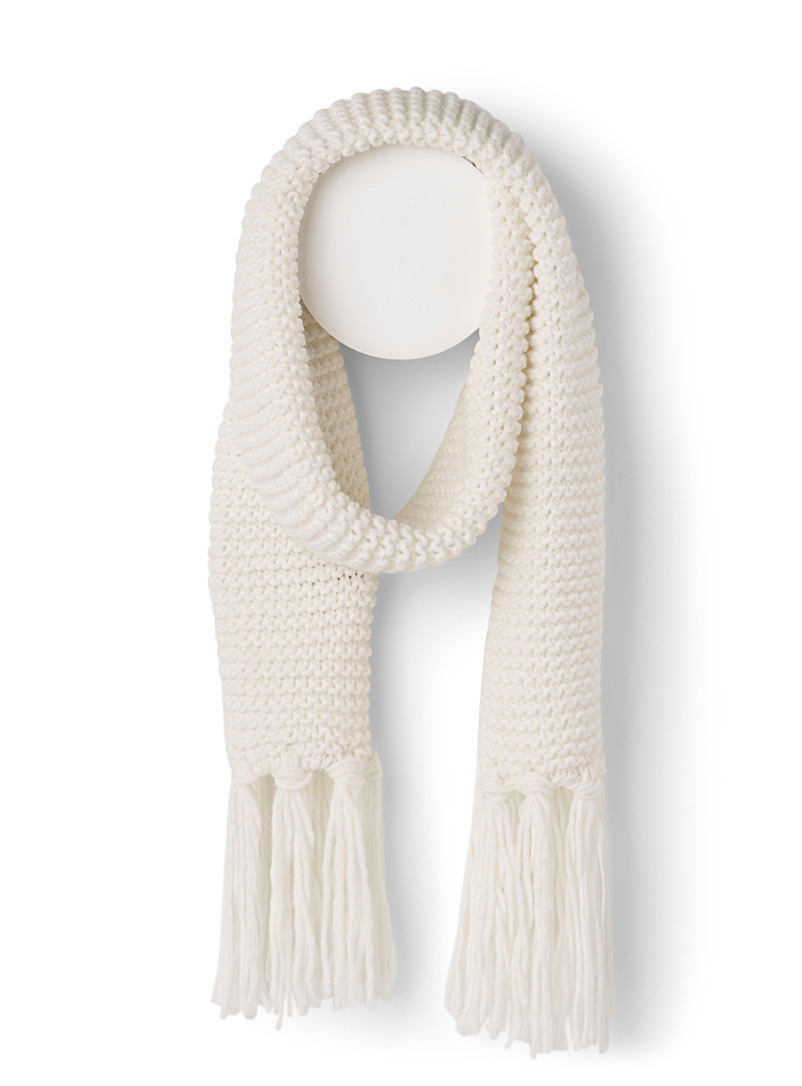 Simons Ivory White Jersey knit scarf for women