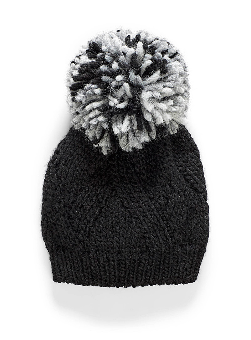 Giant pompom knit tuque - Tuques & Berets - Black