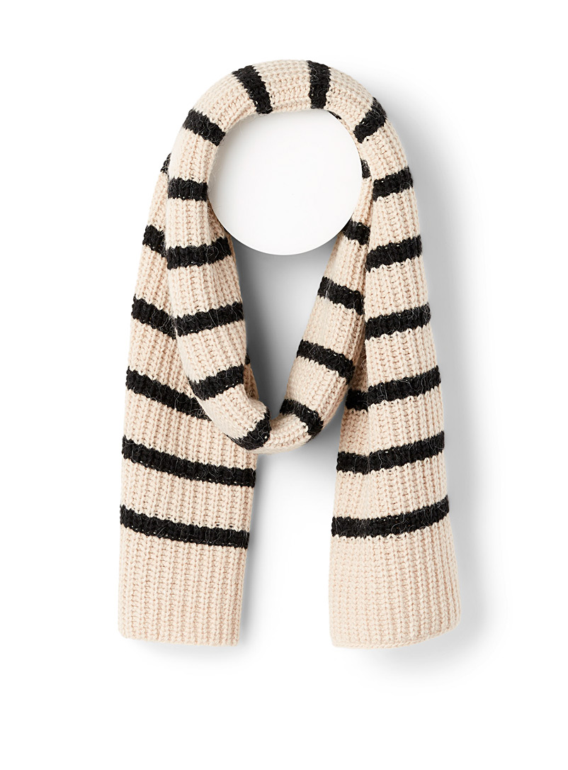 Simons Assorted black  Italian stripe scarf for women