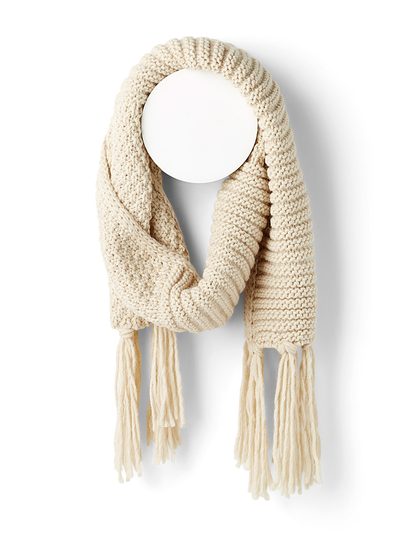 Mixed pattern knit scarf - Outdoor scarves - White