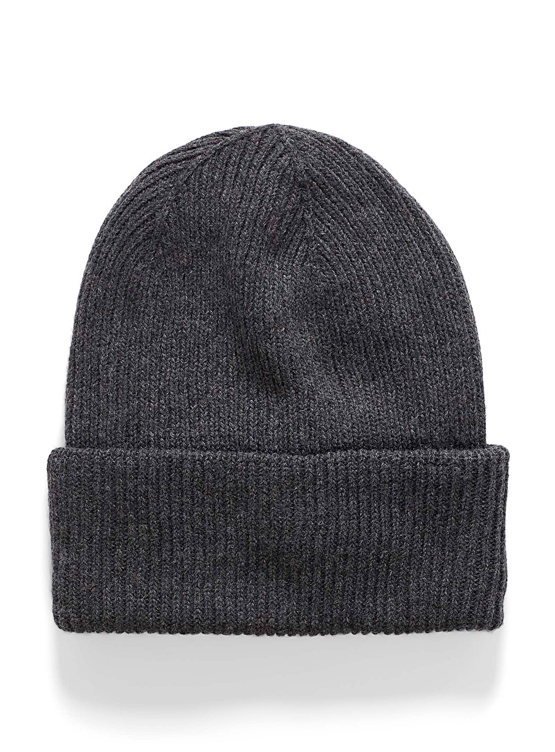 Ribbed roll-up cuff tuque - Tuques - Charcoal