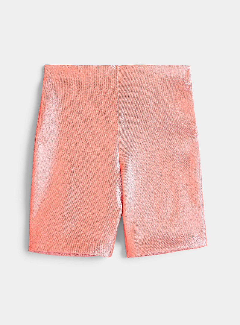 Area Peach Shimmery biker short for women