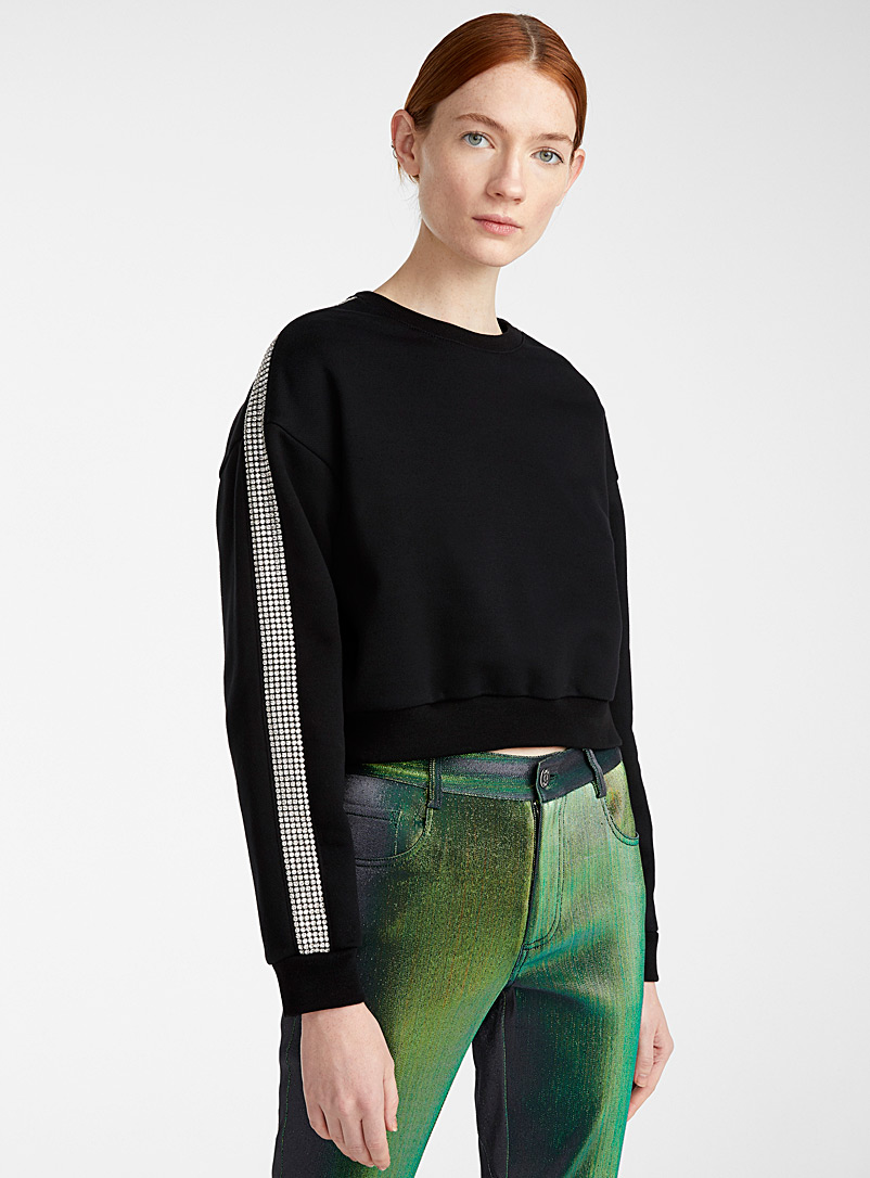 Area Black Crystal Stripe cropped sweatshirt for women