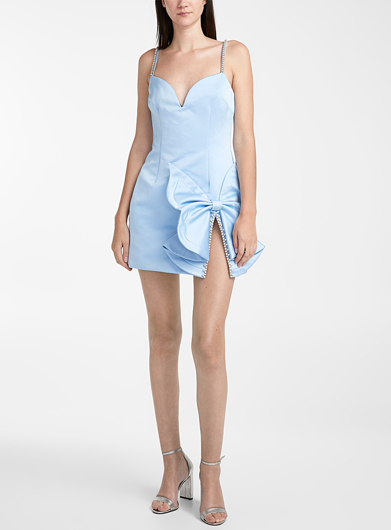 Area Baby Blue Adorned butterfly bow dress for women