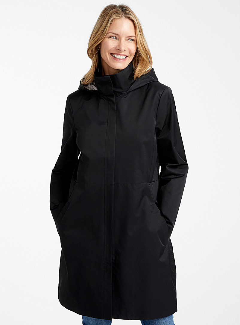 Contemporaine Black Hooded plaid trench coat for women