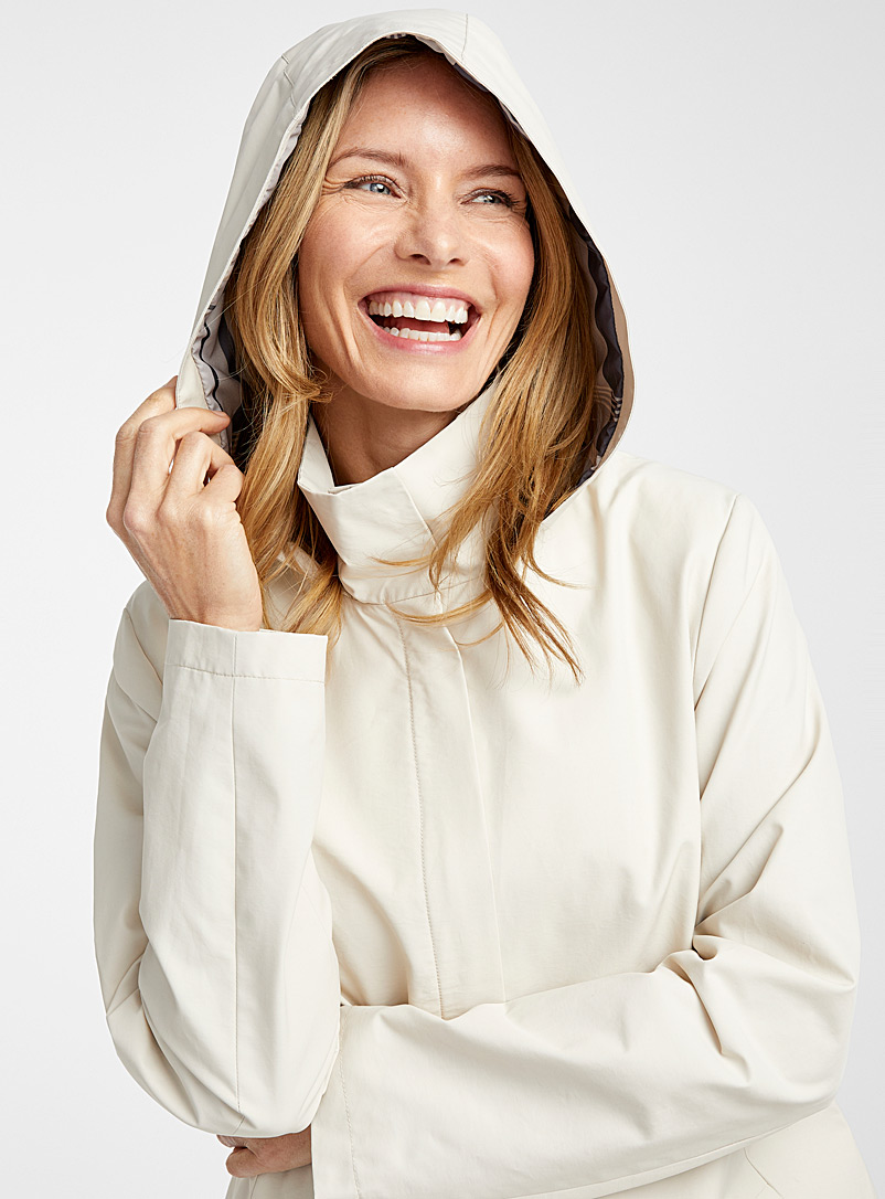 Contemporaine Cream Beige Hooded plaid trench coat for women