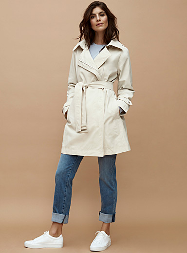 Contemporaine Cream Beige Off-centre zip trench coat for women