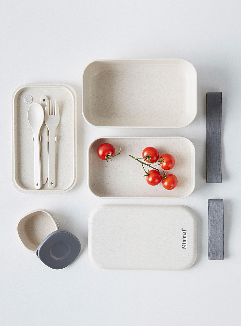 Minimal Ivory White Natural fiber bento box