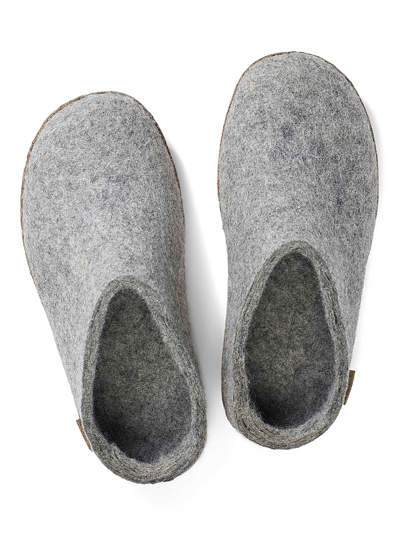 Glerups Light Grey Pure wool mule slippers for women