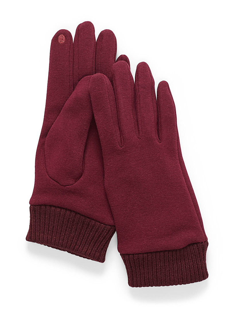Simons Ruby Red Cozy tactile jersey gloves for women
