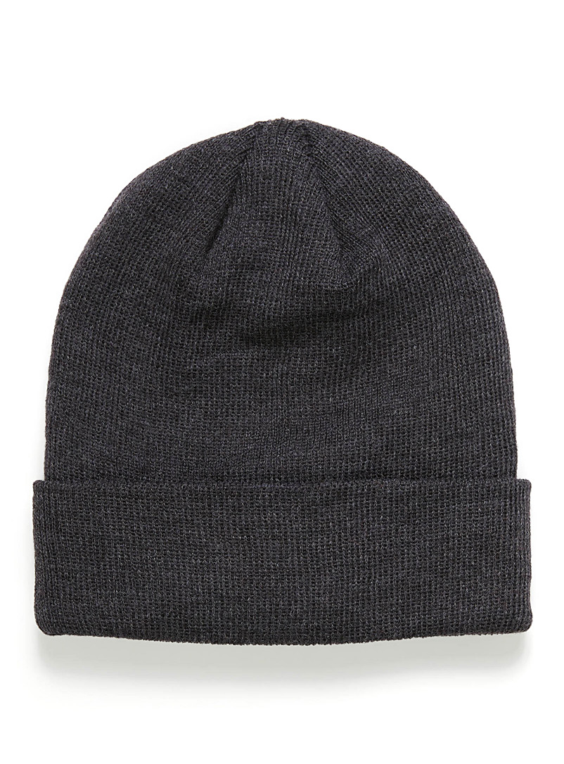 Le 31 Charcoal Minimalist rib-knit tuque for men