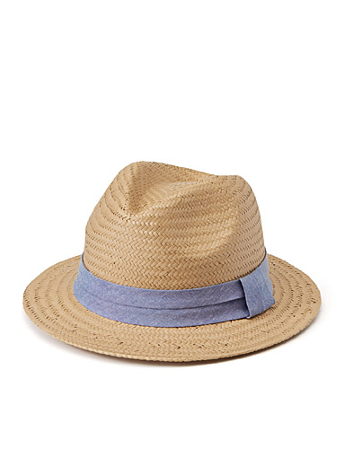 Chambray ribbon Panama hat