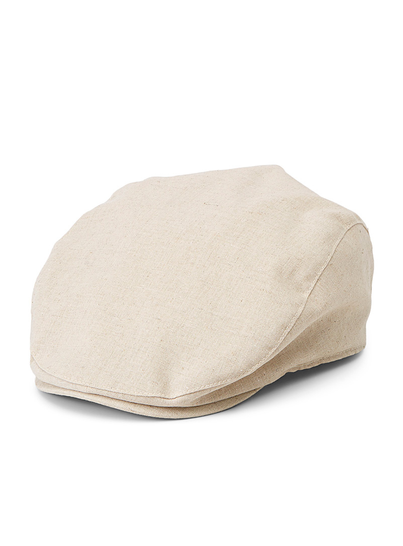 Le 31 Cream Beige Cotton and linen driver cap for men