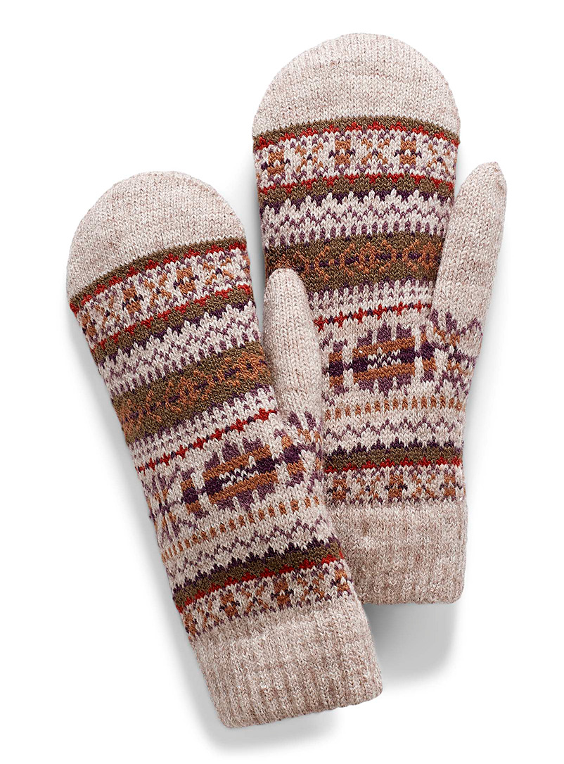 Simons Patterned Brown Chenille-lined rustic jacquard mittens for women