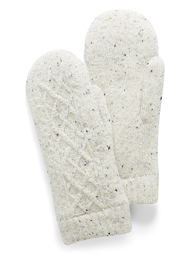 Simons Ivory White Twisted confetti knit mittens for women