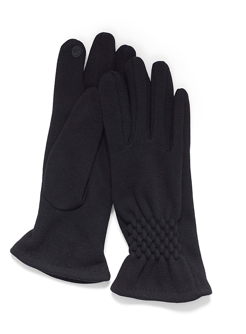 Simons Black Smocked-accent gloves for women