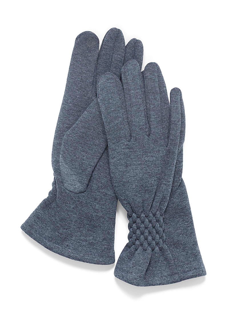 Simons Grey Smocked accent gloves for women
