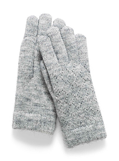 Simons Grey Pointelle knit gloves for women