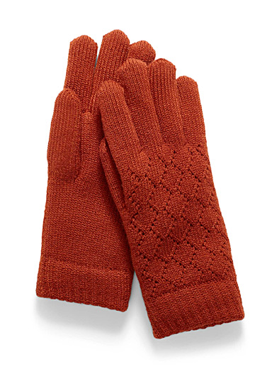 Simons Orange-red Pointelle knit gloves for women