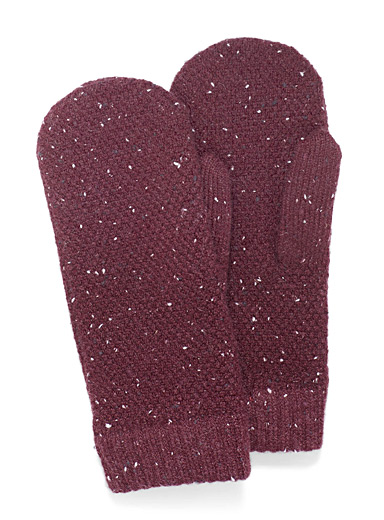 Simons Cherry Red Confetti waffle mittens for women