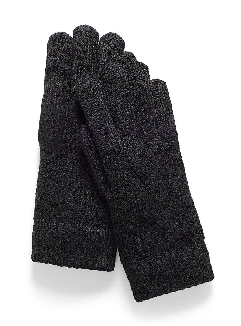 Simons Black Cable knit gloves for women