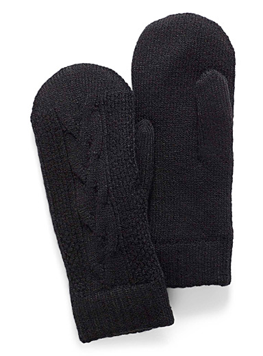 Simons Black Cable knit mittens for women