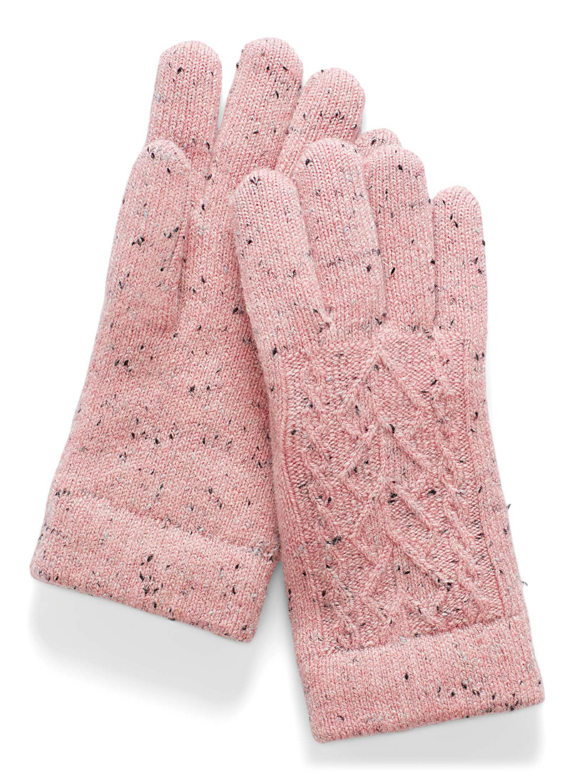 Simons Pink Chenille-lined speckle knit gloves for women