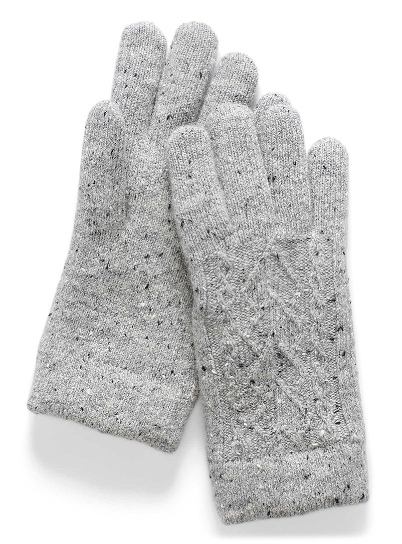 Simons Silver Chenille-lined speckle knit gloves for women
