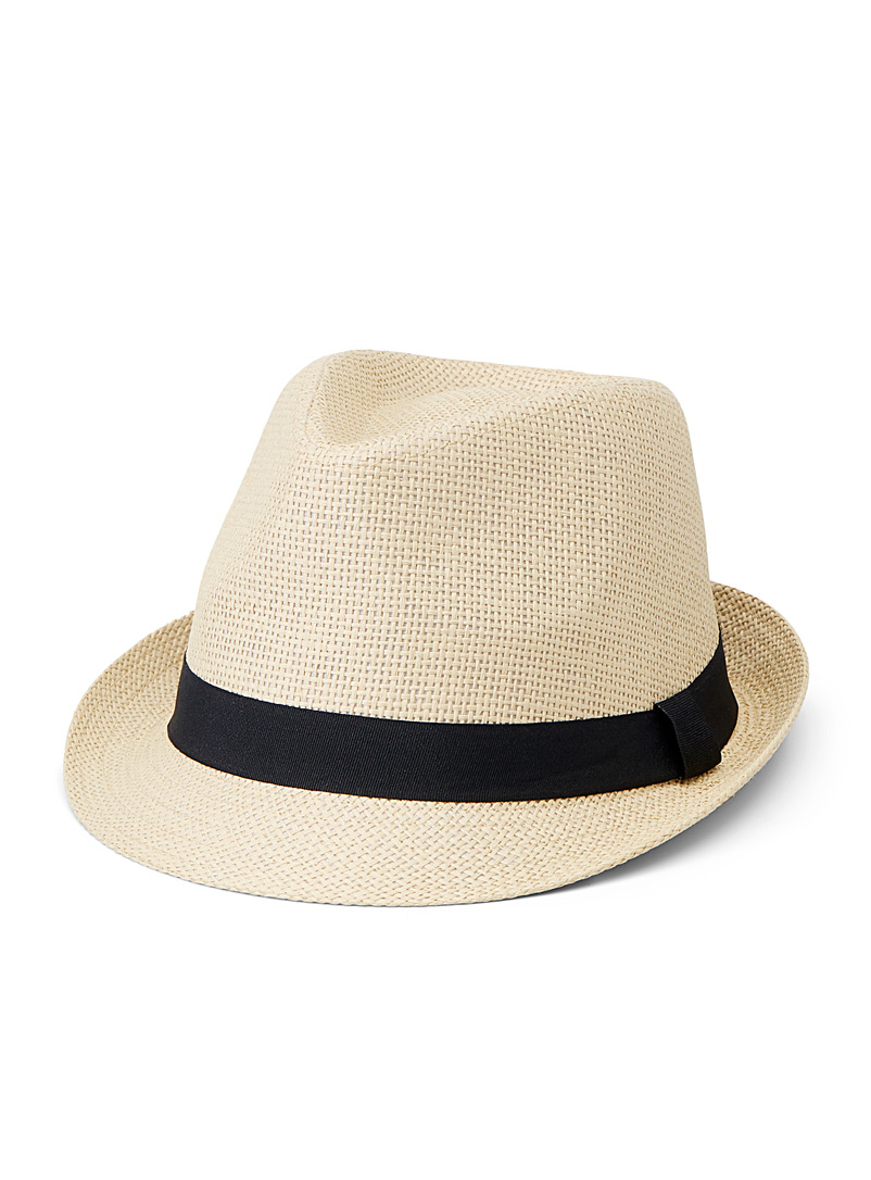 Le 31 Ivory White Straw fedora for men