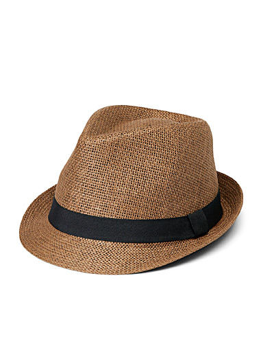 Le 31 Brown Straw fedora for men