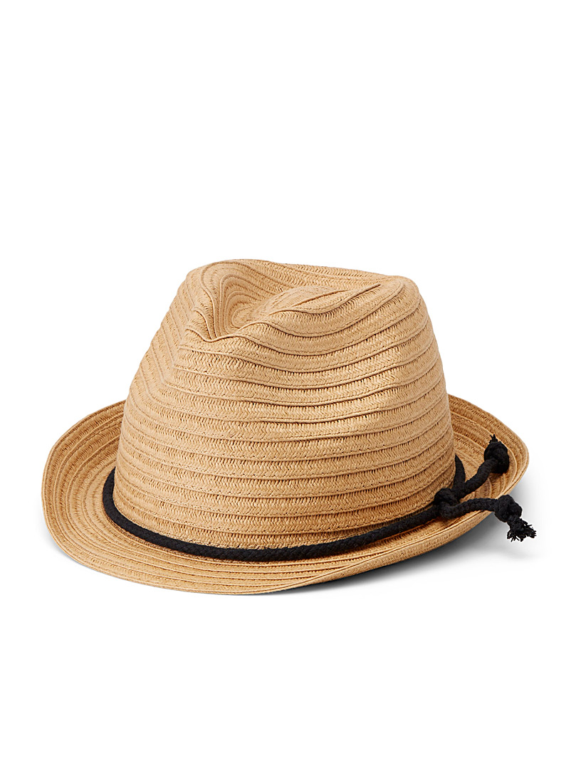 Le 31 Ecru/Linen Tiered straw fedora for men