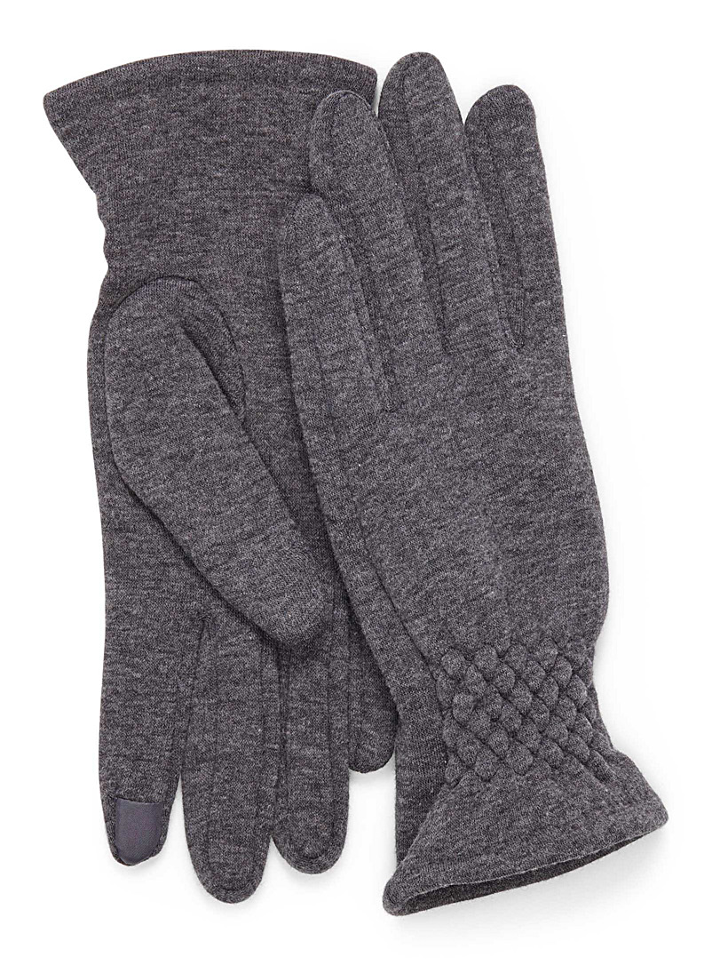 Pleated-cuff touch sensitive gloves - Gloves - Grey