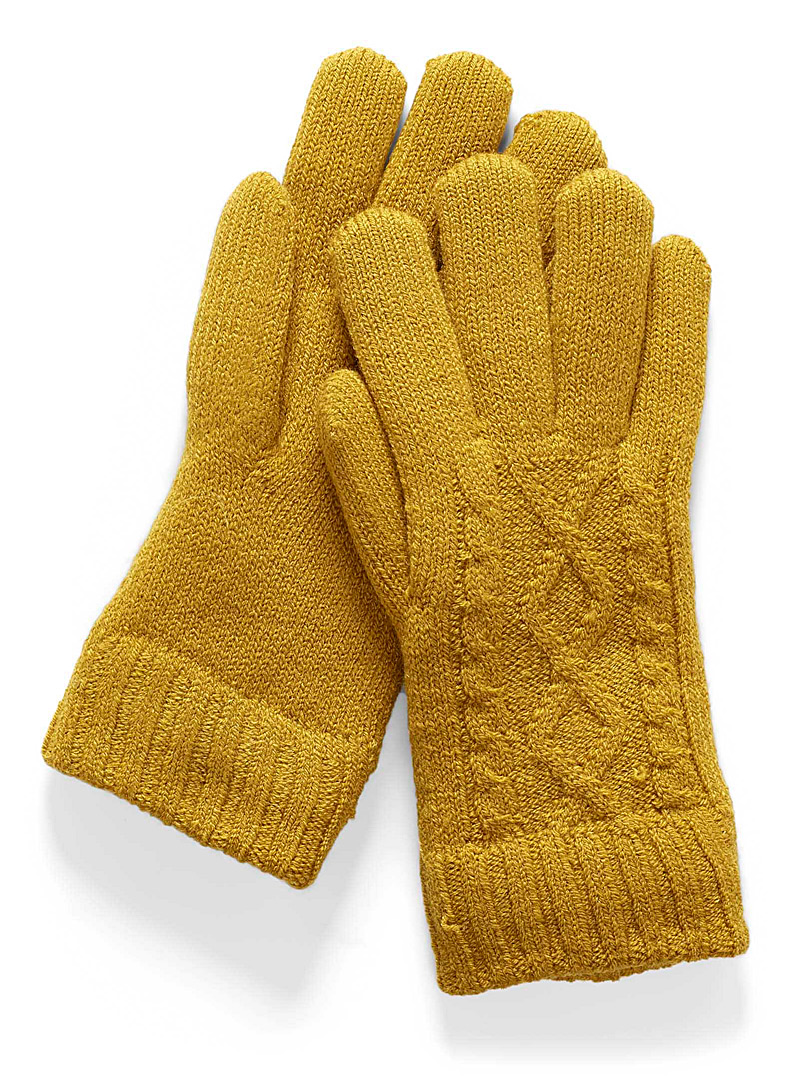 Simons Golden Yellow Twisted-knit gloves for women